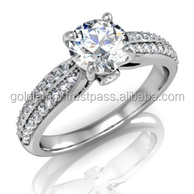 Special design Diamond Ring New 0.5 ct Centre stone + Accent stones Prong Setting Ring Round shape diamonds No Zircon