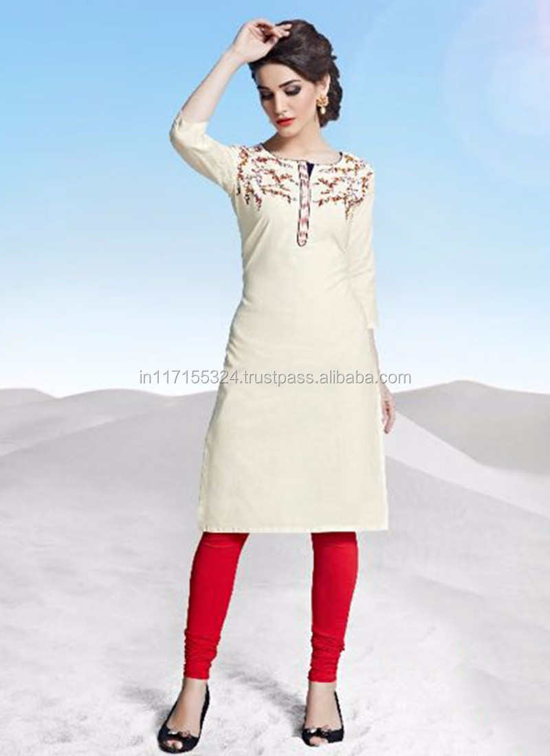 Cream Designer Kurtis - Fancy Kurti - Jeans Kurti Tops ...