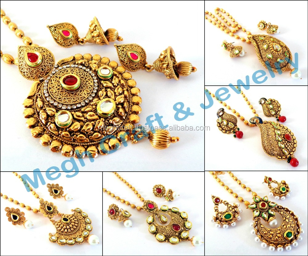 0175a5a89 Antique one gram gold plated pendant set-South Indian style gold plated  pendant necklace set-Indian kundan pearl antique jewelry
