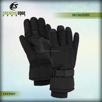 Gohan Unisex Black Ski Gloves / Knitted Sports Ski Gloves / Wholesale Custom Cheap Warm Winter Ski Gloves for Men