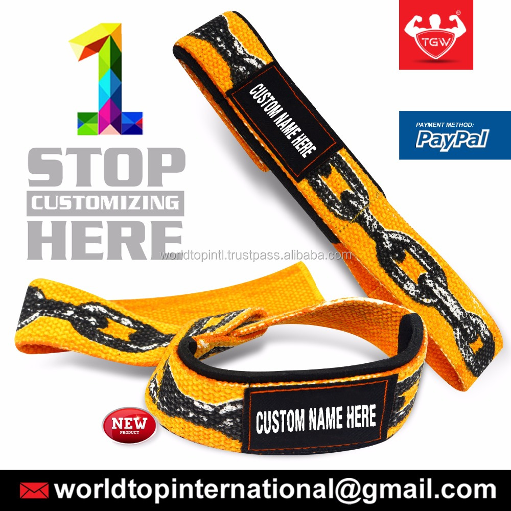 Weight Lifting Power Cotton Strap With Custom Design / Weightlifting Gym Training Bar Straps Support Wrist Wrap