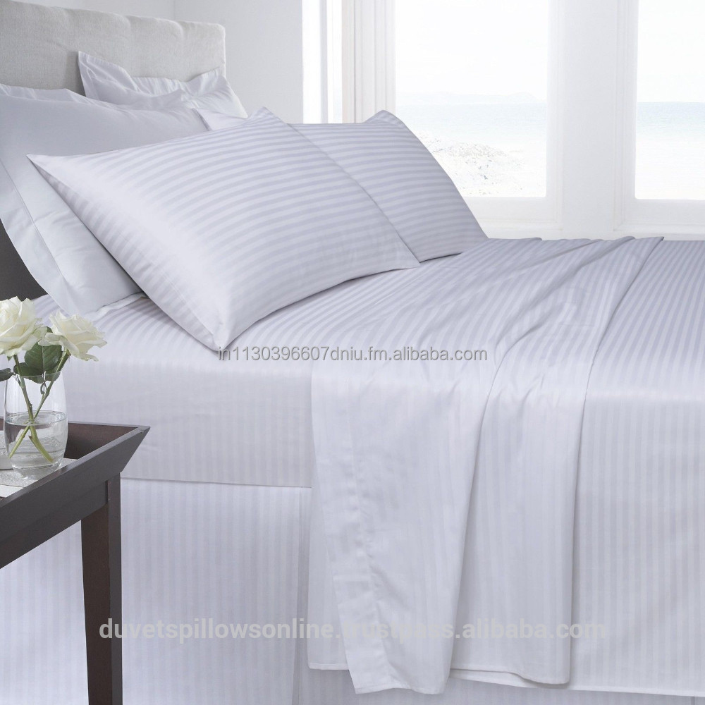 Hotel White 1cm Stripe Bed Sheet 250tc   Buy White Bed Sheets For Hotels  And Hospitals Product On Alibaba.com