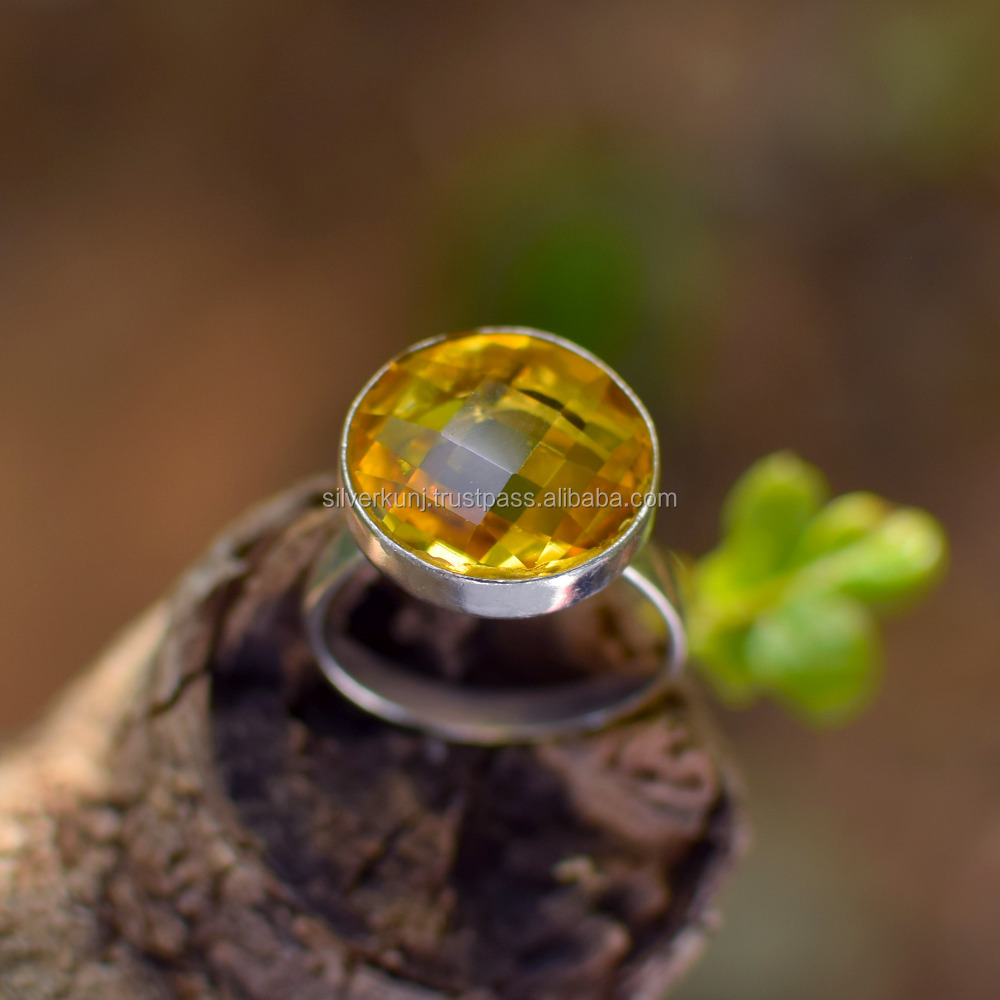 Citrine Gemstone wholesale silver ring Indian Handmade Bezel Jewellery