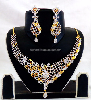 3325180b3e Wedding wear American Diamond Jewellery-Wholesale Gold Plated CZ Necklace  set-Party wear Cubic