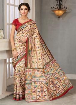 Meghdoot Designer Art Silk Saree/sari Cream And Red Colour Wholesale