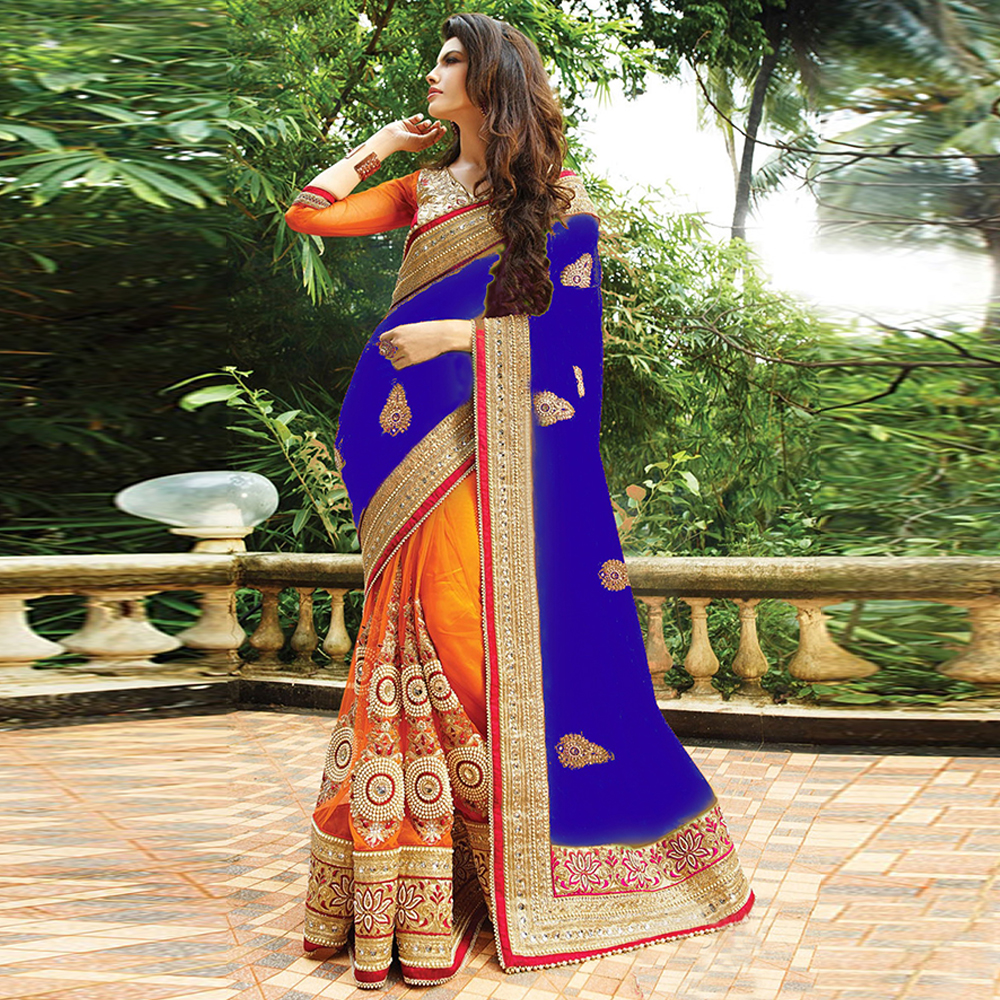 Surat tex Blue & Orange Colored Silk Georgette & Naylon Net Embroidered Saree With Blouse Pice- BS1535-C.