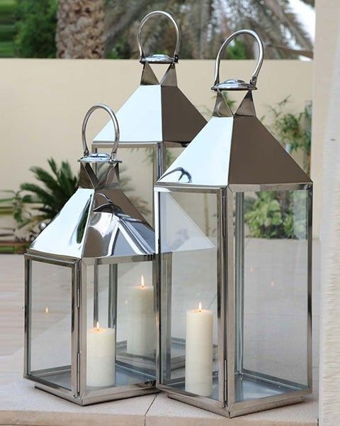 Modern Home Stainless Steel Wall Waterfall Fountain W: Modern Silver Outdoor Garden Stainless Steel Lantern And