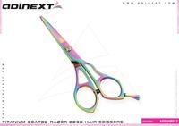 Multi Color Titanium Coated Razor Edge Barber Scissors, Titanium Coated Barber Scissors - Item No. AE01HB013
