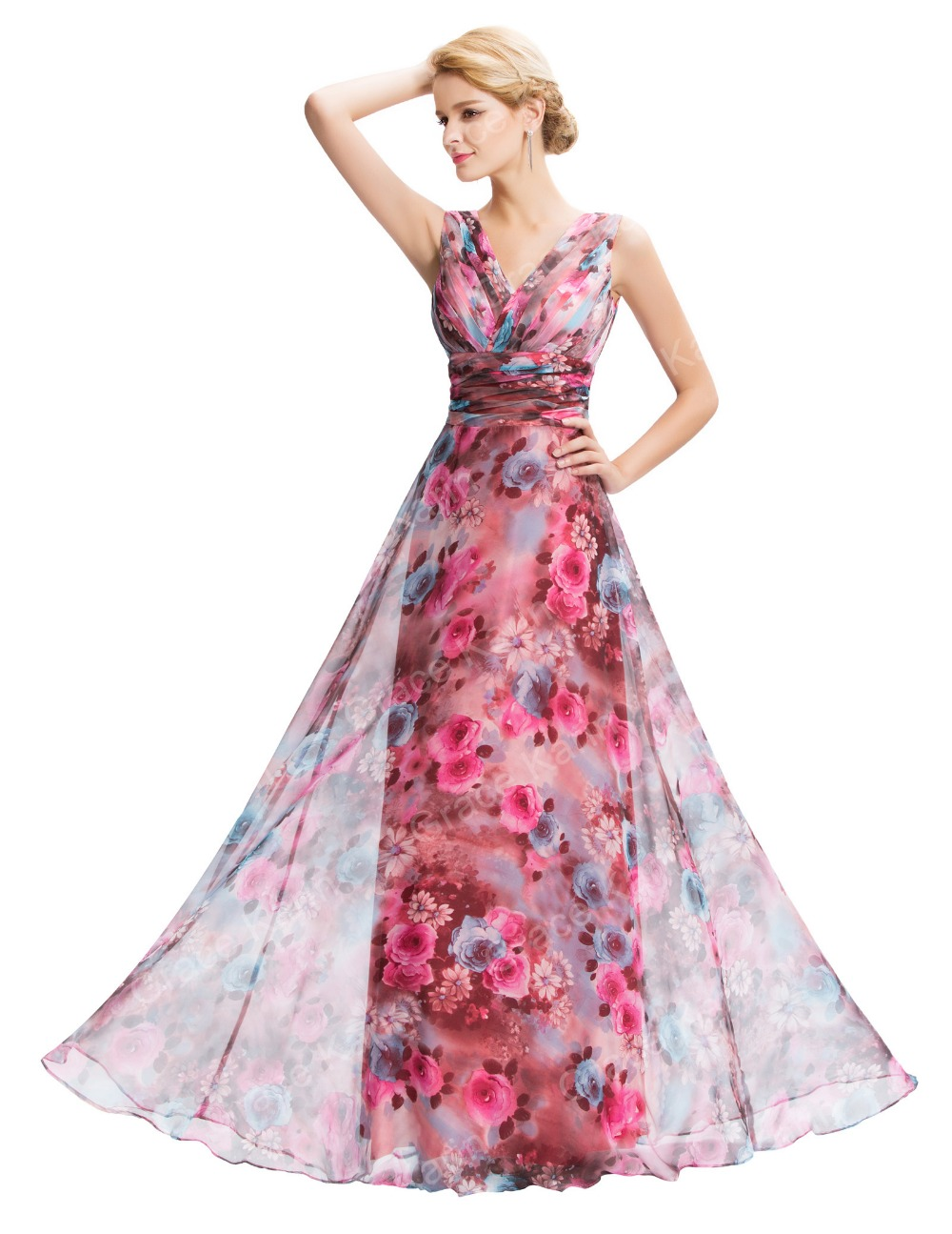 Grace karin new sleeveless v neck floral pattern chiffon long grace karin new sleeveless v neck floral pattern chiffon long bridesmaid dress gk000058 1 ombrellifo Images