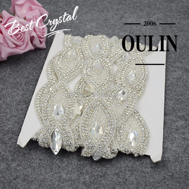 Factory price Bridal crystal hot fix Beaded Rhinestone handmade lace trim for bridal dress