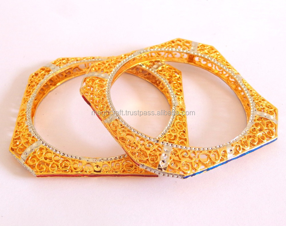 bangles kaneesha gold bracelet bangle kaneeshajewelry plated polki large display square