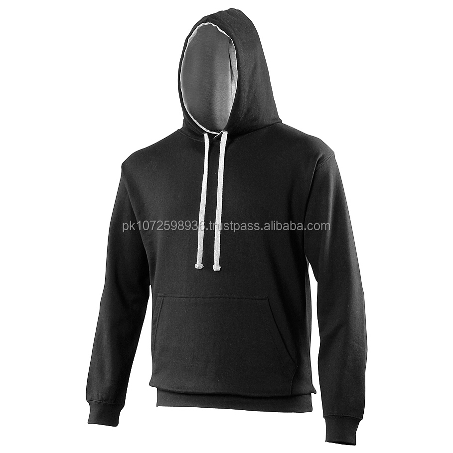 Premium quality contrast pullover OEM mens' gym hoodies