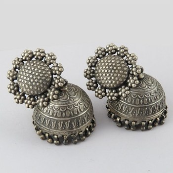 Oxidized Plain Silver 925 Sterling Earring Jewelry India