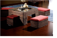 Coffe set with ottoman and table, water hyacinth coffe set