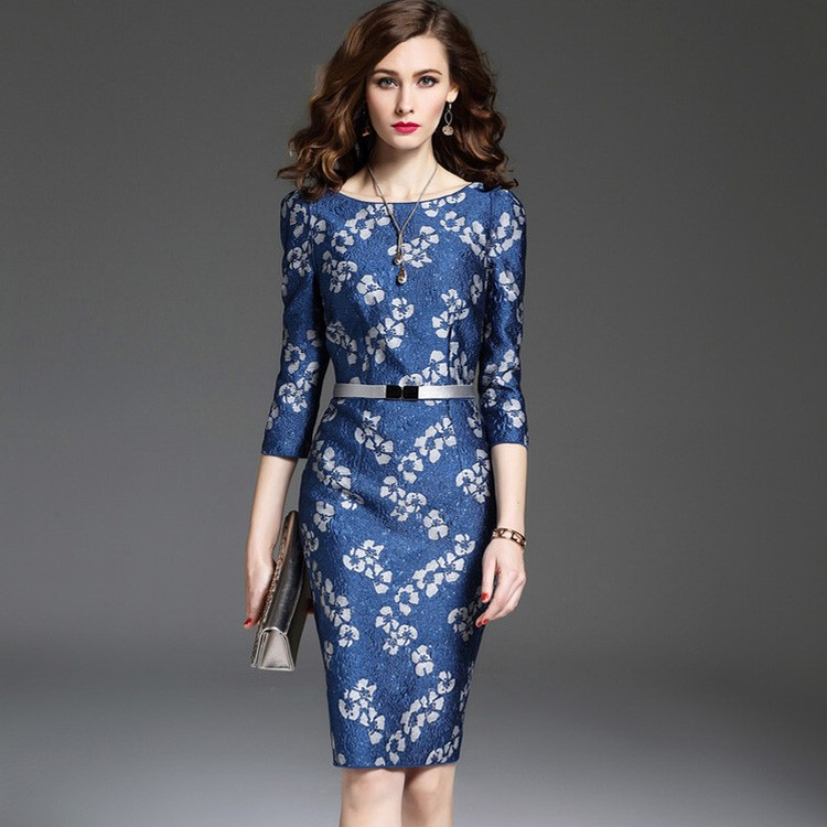 Ladies Evening Knee Length Western Dresses Flower Embroidery ...