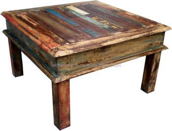 Indian recycled reclaimed folding wooden end table coffee for Reclaimed wood supplier
