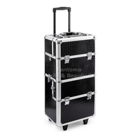 BEAUTY TROLLEY CASE ON WHEELS BLACK - SILVER - PINK