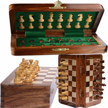 "15"" CHESS SET MAGNETIC FOLDABLE WOODEN CHESS BOARD SET -UNIQUE HANDMADE TOURNAMENT CHESS GAME"