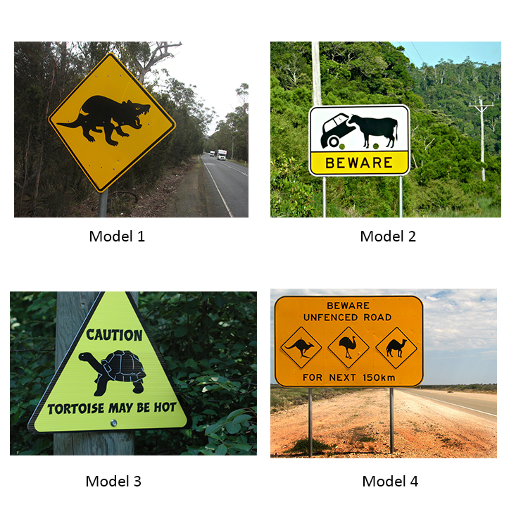 High Visibility Reflective Sheeting Warning Sign For Crossing Wild Animals