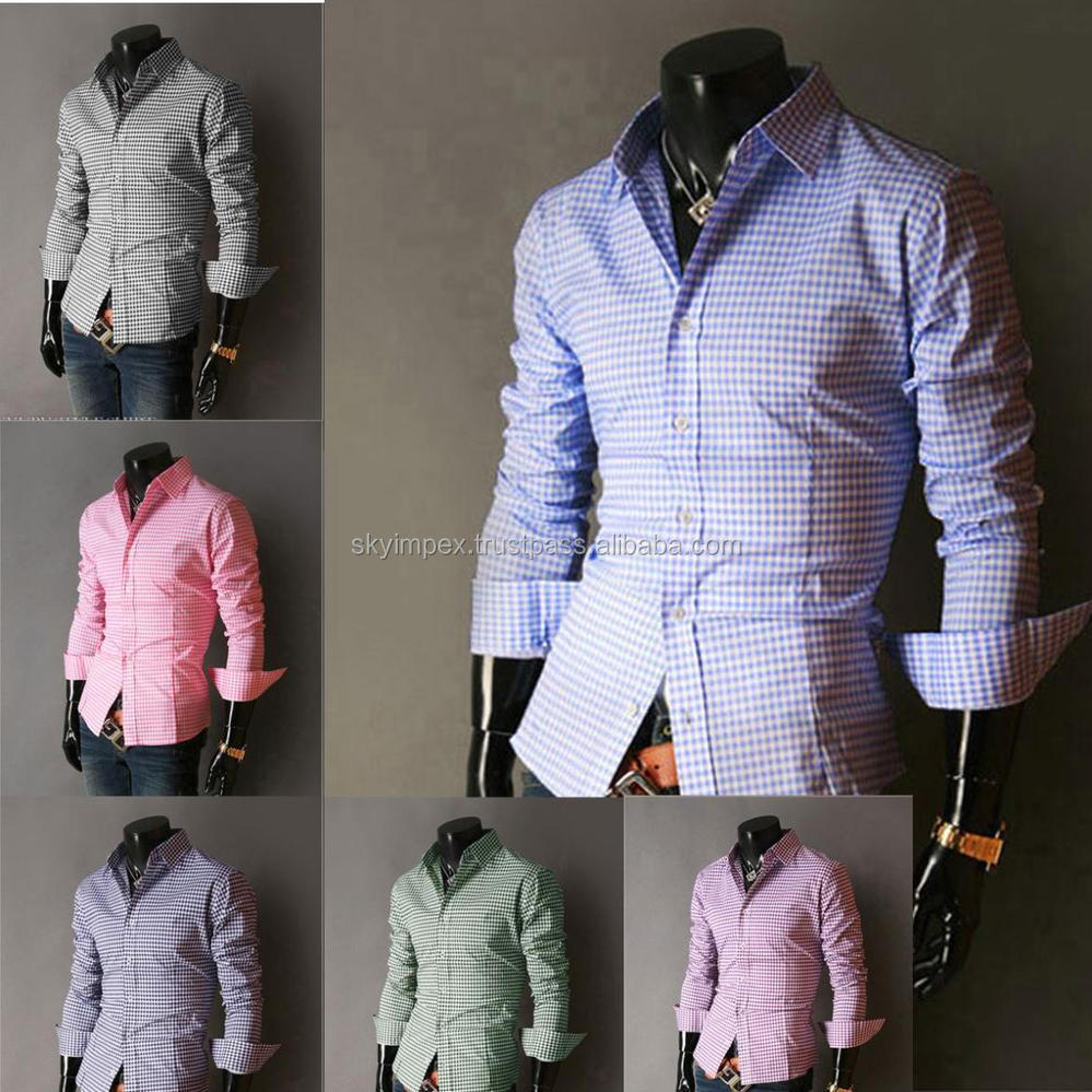 Button Cuff Collar Gingham Long Sleeve Men Woven Shirt - Buy Mens ...