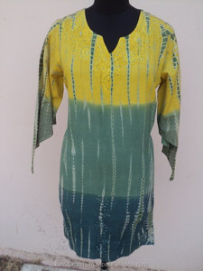 casual tie and dye kurti for hot summers / Indian wholesale cotton printed best quality blouses