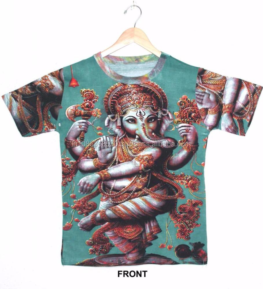 9292ec15 Indian Hindu Gods & Ganesha DIVINE Hindu Lord Deity T shirt Psychedelic  Unisex wear Hippie Dj Art T - Shirt shirt M / L / Xl