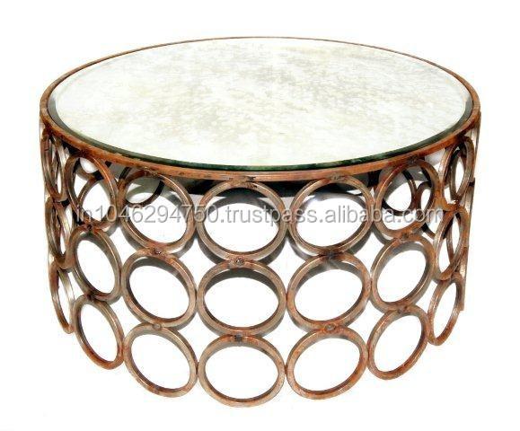 gold finish couchtisch runde metall beistelltisch. Black Bedroom Furniture Sets. Home Design Ideas