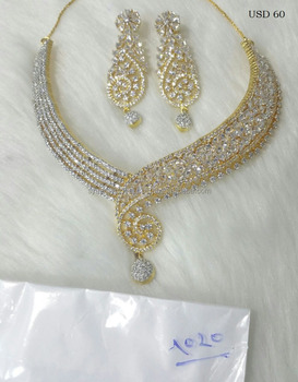 66c69bd45 Golden color american diamond necklace set for women at cheap price  wholesale