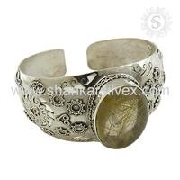 Beautiful Design Golden Rutile Jewelry Bracelet 925 Sterling Silver Bracelet Online Wholesaler Silver Jewelry