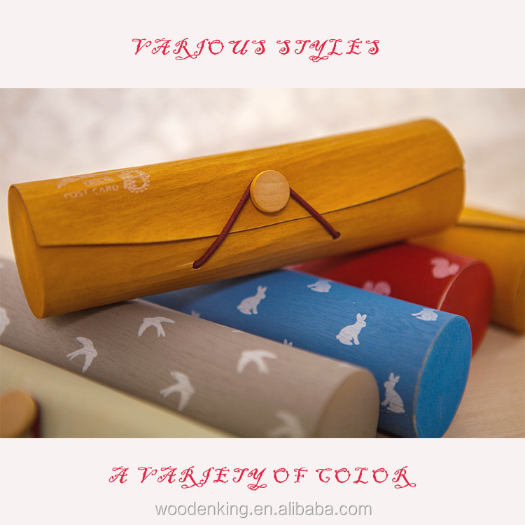 Top 2017 Contracted Fashion Stationery Box Custom Logo Wooden Kawaii Pencil Case
