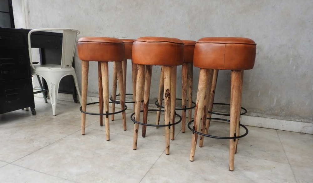 Wooden Bar Stools With Leather Seats Brown Round Backless