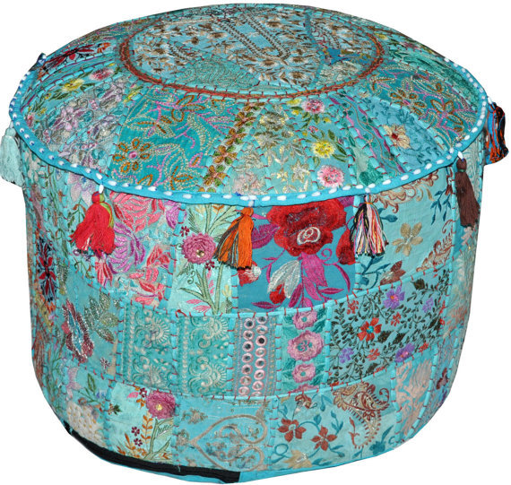 bohemian indian pouf ottoman patchwork pouf cocktail living room bean bag big hassock cover. Black Bedroom Furniture Sets. Home Design Ideas