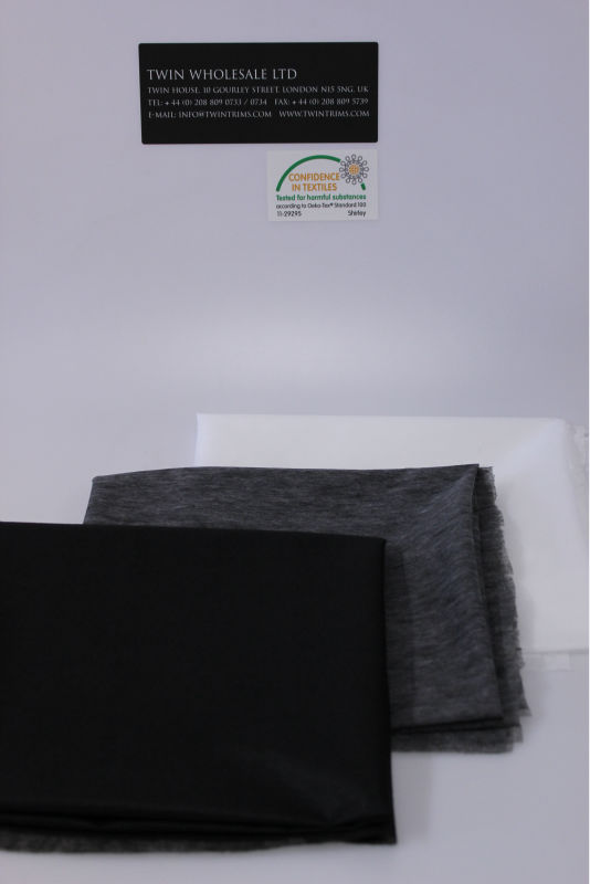 LIGHT WEIGHT INTERLINING IRON ON//FUSIBLE CHARCOAL//WHITE 1MTR OR 100MTR ROLL