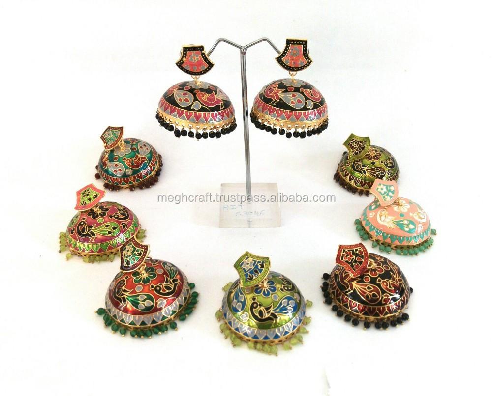 Designer Meenakari Jhumka Earrings Indian Whole Earring Imitation Jewelry Costume Bulk