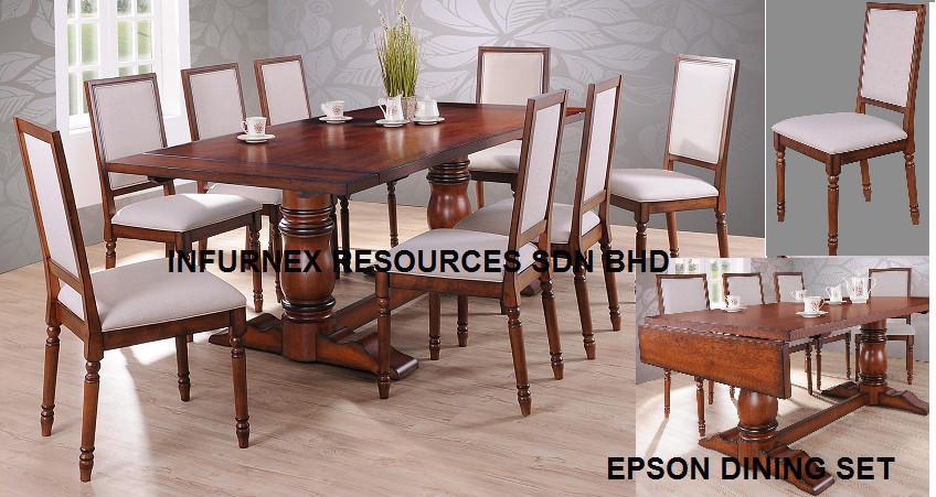 Set da pranzo in legno massello di gomma tavolo sedie malaysia