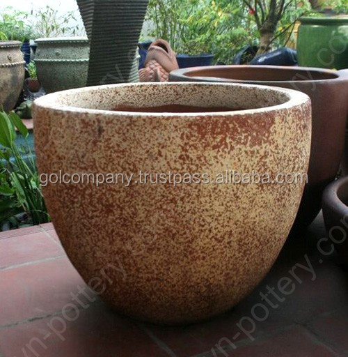 Wholesale Egg Round Dark Clay Vase Rustic Copper Pots New
