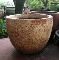 [wholesale] Egg round dark clay vase - Rustic Copper pots (New) - Garden urns planters - Vietnam pottery Manufacturer