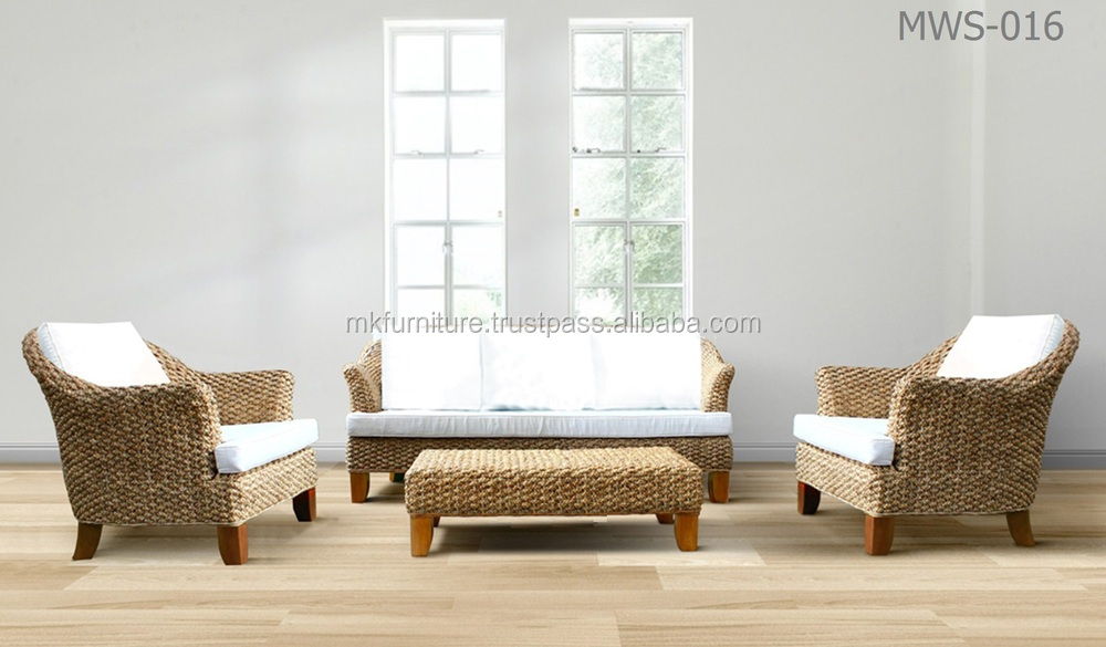 Wooden Rattan Living Room Furniture - Water Hyacinth Sofa Set
