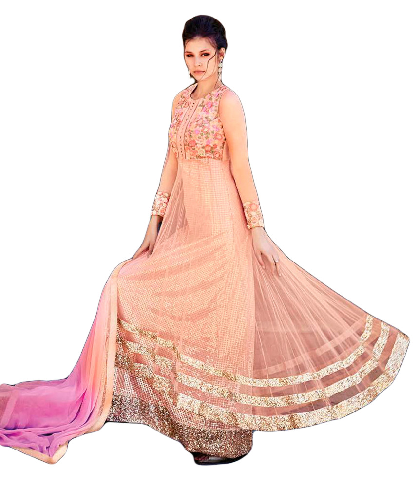 Lovely Semi-stitched Light Pink & Purple Colour Anarkali Flair Style ...