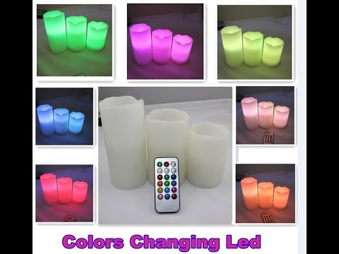 Colorful Flameless LED candle light Remote Control,Pillar Wax LED Candle lamp,Luz de la vela del LED