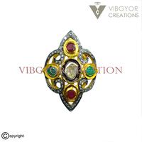 Unique 925 Silver pave rosecut diamond gemstone ruby emerald wedding ring