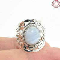 wholesale silver ethnic jewelry from jaipur natural blue agate gemstone ring offers 925 sterling silver jewelry exporter