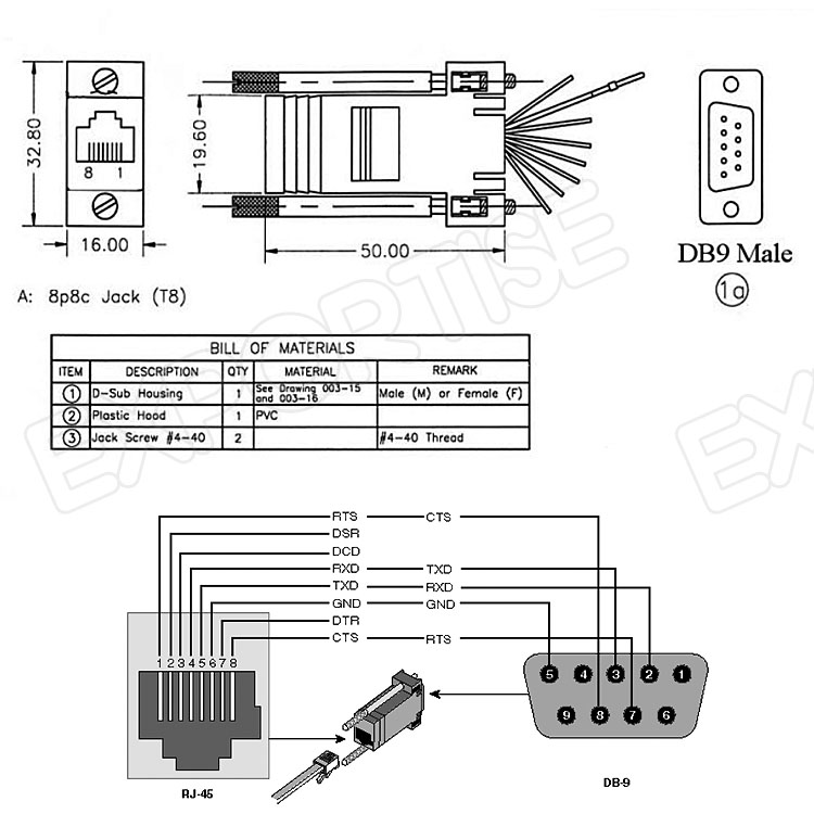 Brand New Db9 Male To Rj45 Female Rs232 Modular Adapter With Low ...