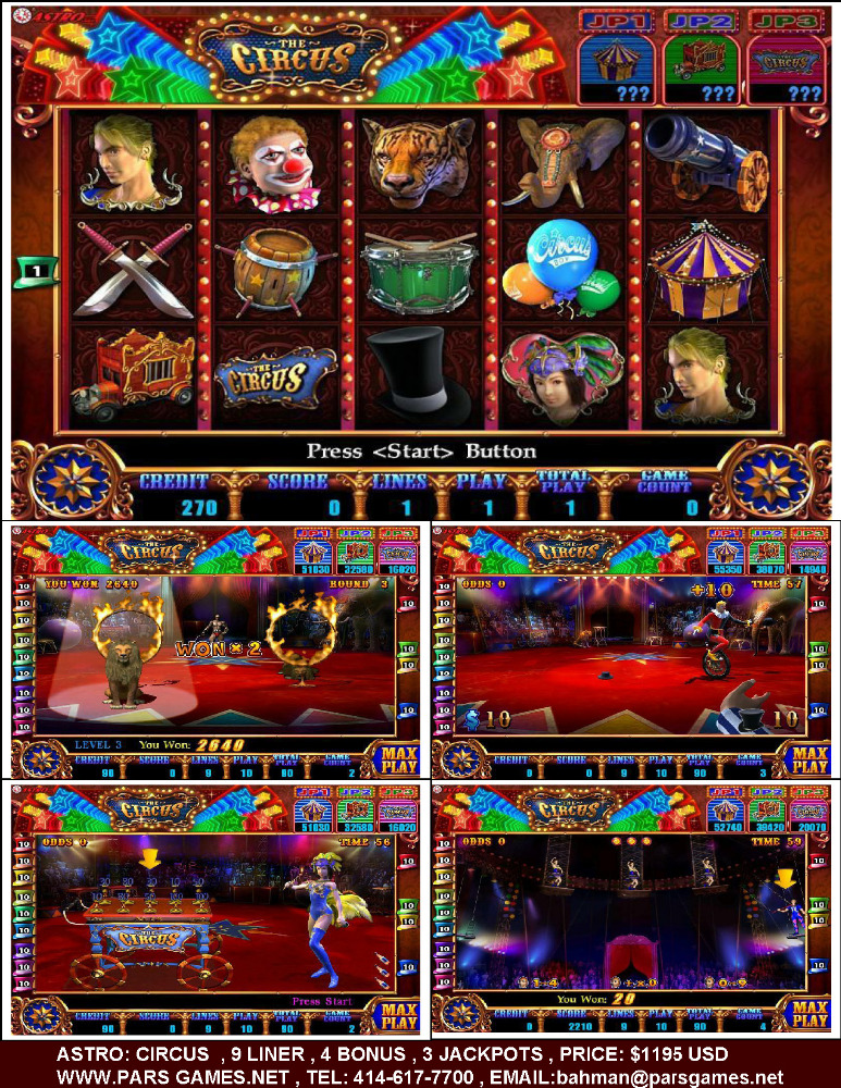 CASINO VIDEO SLOTS GAME BOARDS BY ASTRO CORP : CIRCUS , CARNIVAL , FLYING AGE , HALLOWEEN PARTY , TREASURE HUNT , PLAY BALL