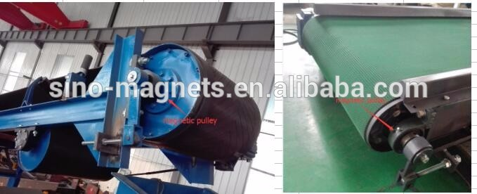 magnetic drive pulley separator for transport belt head