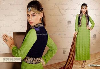 Heavy Embroidered Velvet Jacket Salwar Suit Buy Heavy Designer