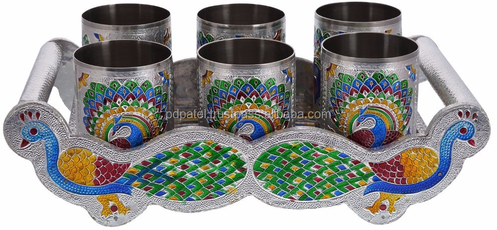 PD Craft Silver TWIN PEACOCK Designed WOODEN MEENAKARI TRAY WITH MATCHING 6-GLASSES SET