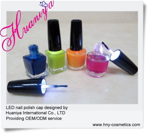 nail polish packaging LED light cap with brush