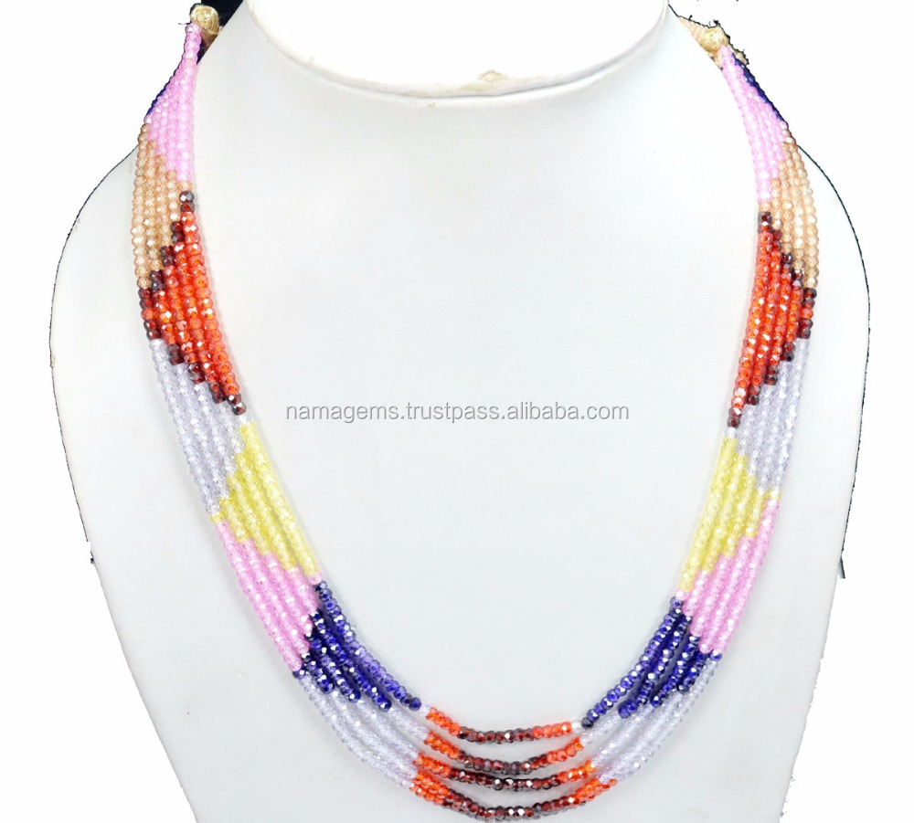 WOMAN-GIRL FASHION ZIRCON GEMSTONE SEMI PRECIOUS BEADED NECKLACE