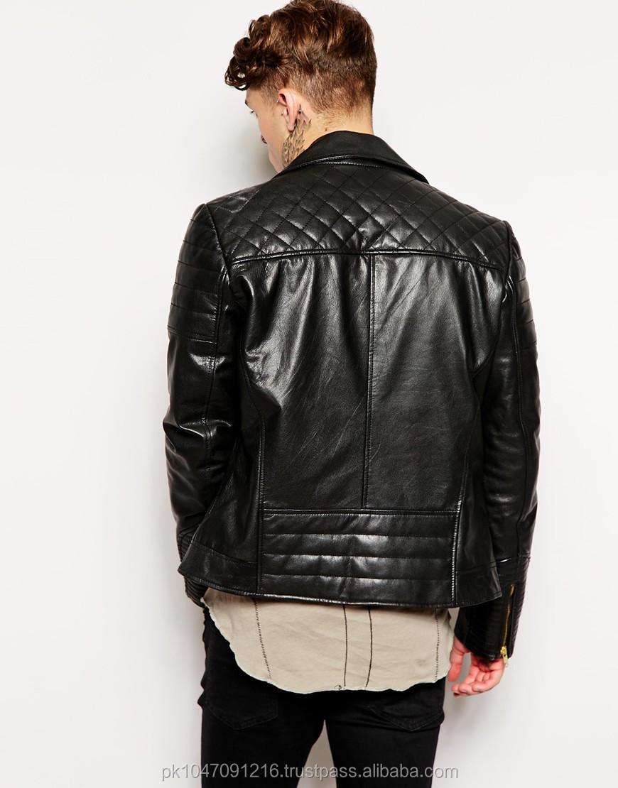 Men Leather Jacket / Genuine Leather Jacket / Sheepskin Leather ... : quilted biker leather jacket - Adamdwight.com